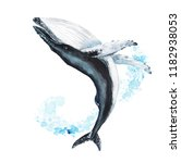 watercolor hand drawn humpback... | Shutterstock . vector #1182938053