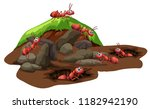 group of ants living... | Shutterstock .eps vector #1182942190