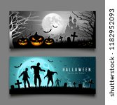 happy halloween pumpkin and... | Shutterstock .eps vector #1182952093