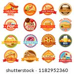 fast food icons. burger  pizza... | Shutterstock .eps vector #1182952360