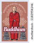 buddhist monk with rock stack ... | Shutterstock .eps vector #1182956146