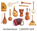 folk music instruments... | Shutterstock .eps vector #1182957169