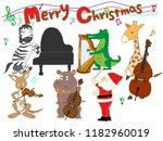 christmas concert at the zoo.... | Shutterstock .eps vector #1182960019