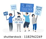 crowd of protesters carrying... | Shutterstock .eps vector #1182962269