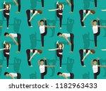 manga yoga posture standing...   Shutterstock .eps vector #1182963433
