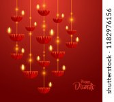 happy diwali. hanging paper... | Shutterstock .eps vector #1182976156