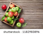 ripe green and red apples in...   Shutterstock . vector #1182983896