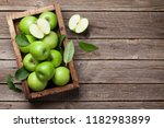 Ripe Green Apples Box On Wooden ...