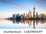 shanghai skyline with modern... | Shutterstock . vector #1182985699
