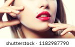 close up lips and part of face... | Shutterstock . vector #1182987790