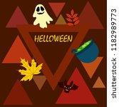 halloween autumn fallen leaves... | Shutterstock .eps vector #1182989773