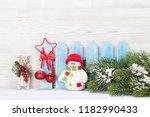 christmas snowman  sledge toys... | Shutterstock . vector #1182990433