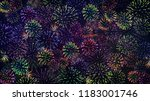 colorful fireworks on the black ... | Shutterstock . vector #1183001746