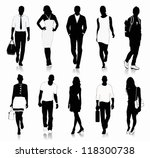 collection of people silhouettes | Shutterstock .eps vector #118300738