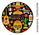 colorfull traditional mexican...   Shutterstock .eps vector #1183012456