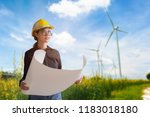 woman engineer looking the wind ... | Shutterstock . vector #1183018180