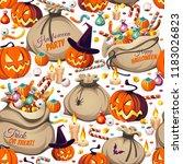 seamless pattern   pumpkins and ...   Shutterstock .eps vector #1183026823