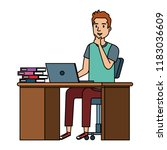 young man at desk with laptop... | Shutterstock .eps vector #1183036609