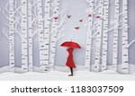 winter season with the girl in... | Shutterstock .eps vector #1183037509