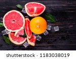 orange and grapefruit juice on... | Shutterstock . vector #1183038019