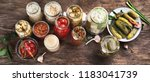 different fermented preserved... | Shutterstock . vector #1183041739