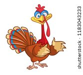 cartoon thanksgiving turkey... | Shutterstock .eps vector #1183043233