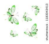 beautiful green butterflies ...   Shutterstock .eps vector #1183043413