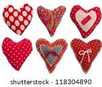 collection of textile red hearts | Shutterstock . vector #118304890