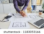 architect working on building...   Shutterstock . vector #1183053166