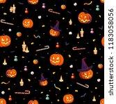 seamless pattern   pumpkins...   Shutterstock .eps vector #1183058056