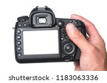 photo camera in hand isolated... | Shutterstock . vector #1183063336