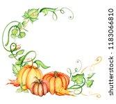 watercolor pumpkin and autumn... | Shutterstock . vector #1183066810