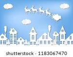 paper city. winter. new year's...   Shutterstock .eps vector #1183067470