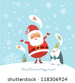 funny and cute christmas card | Shutterstock .eps vector #118306924