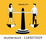 man and woman on balance | Shutterstock .eps vector #1183073329