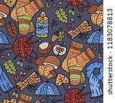 cozy fall hand drawn vector... | Shutterstock .eps vector #1183078813