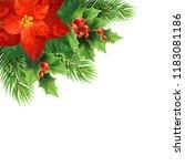 red poinsettia flower realistic ... | Shutterstock .eps vector #1183081186