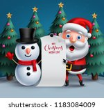 santa claus and snowman vector...   Shutterstock .eps vector #1183084009