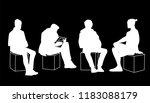 men sitting in different poses. ... | Shutterstock .eps vector #1183088179