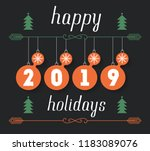 happy holidays 2019  vector... | Shutterstock .eps vector #1183089076