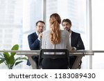 back view of woman candidate... | Shutterstock . vector #1183089430