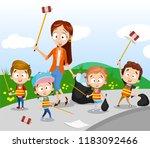 group of kids with teacher... | Shutterstock .eps vector #1183092466
