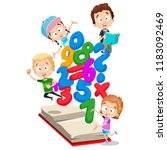 smiling little children... | Shutterstock .eps vector #1183092469