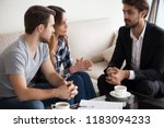 millennial couple meet with... | Shutterstock . vector #1183094233