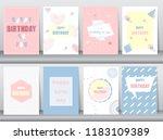 set of birthday card on retro... | Shutterstock .eps vector #1183109389