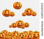 pumpkin border set transparent... | Shutterstock .eps vector #1183110313