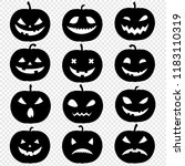 silhouette of pumpkin set... | Shutterstock .eps vector #1183110319