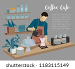barista  man making coffee on... | Shutterstock .eps vector #1183115149