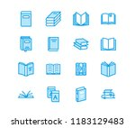 books flat line icons. reading  ... | Shutterstock .eps vector #1183129483