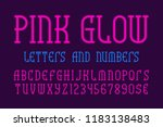 pink glow letters and numbers... | Shutterstock .eps vector #1183138483